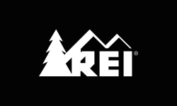 REI White logo on dark